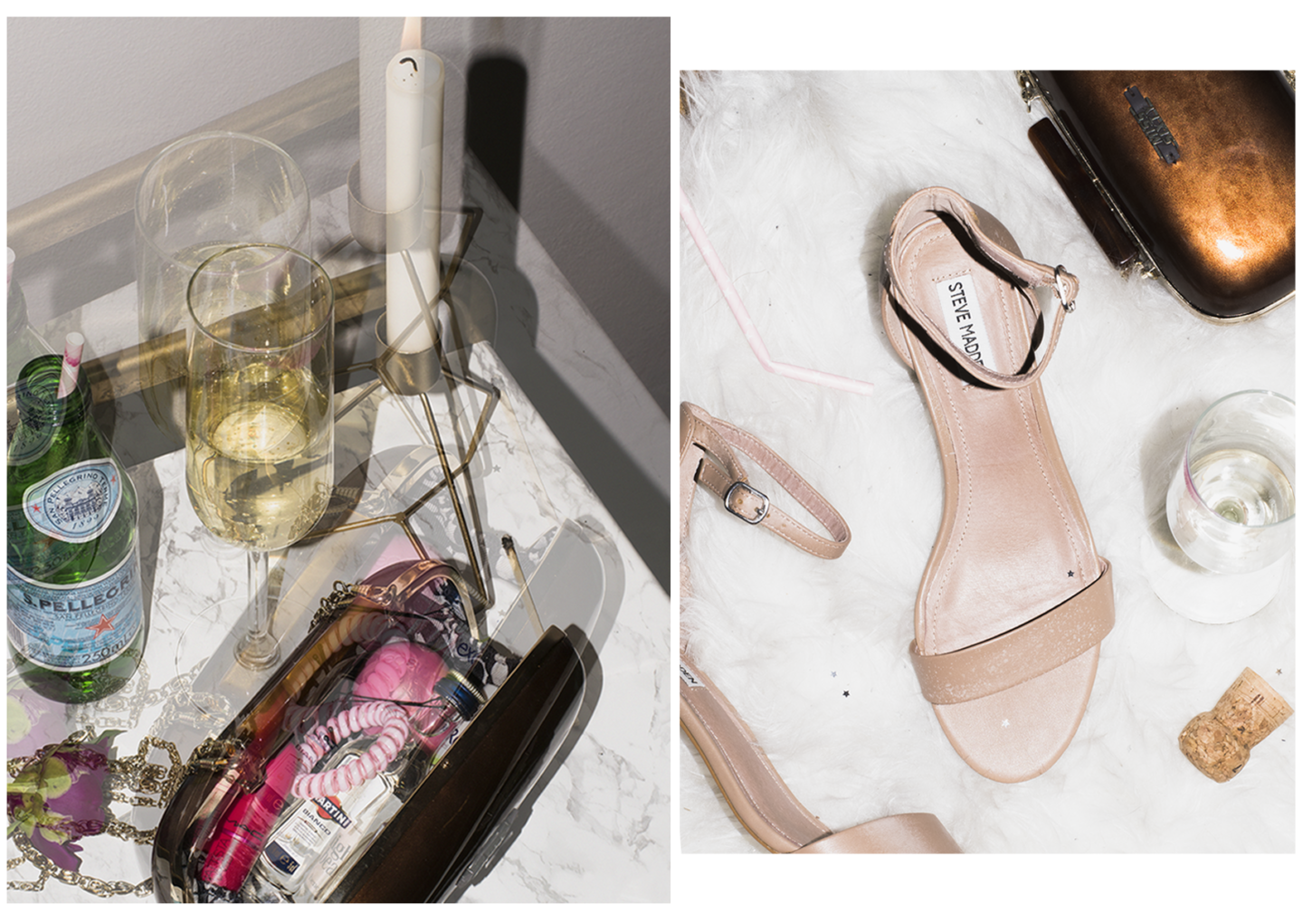 Steve Madden Ireene nude sandals with champagne glass and Miss Sixty bronze clutch