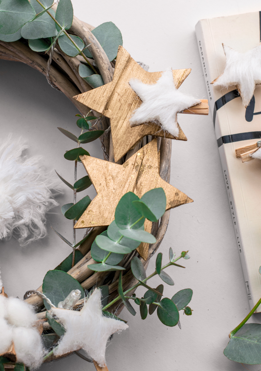 Eco-friendly holiday wreath with a woodsy and fairy-tale design